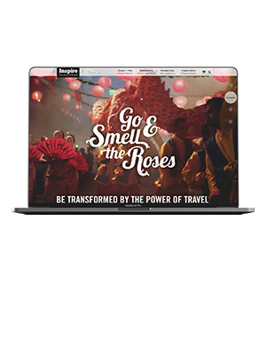 Image of the Go and Smell the Roses Campaign Landing Page shown in a browser on a laptop computer.