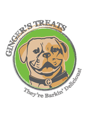 Illustrated Logo for Ginger's Treats Dog Treats, tagline: They're Barkin' Delicious!